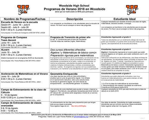 Woodside High School - 9th Grade Summer Opportunities